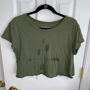 American Eagle Cropped Olive Green Tee
